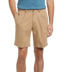 berle charleston pleated chino shorts, size 32 in british tan at nordstrom