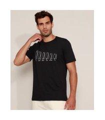camiseta masculina pranchas de surf manga curta gola careca preta