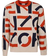 kenzo all-over logo ribbed sweatshirt