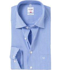 olymp luxor comfort fit overhemd blauw/wit streep strijk