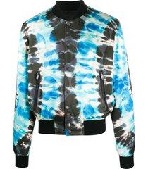 blue tie-dye bomber jacket