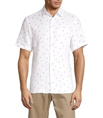 saks fifth avenue men's flamingo-print linen shirt - night shadow - size m