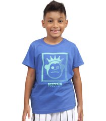 camiseta kings sneakers classic block azul - branco - masculino - dafiti