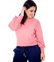 blusa mari malpighi manga bufante rose