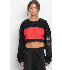 bluza red mesh crop sweatshirt