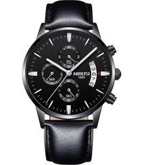 reloj hombre lujo pulso cuero nibosi 2309 negro