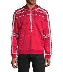 valentino garavani men's embroidered hoodie - red - size l