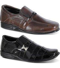 kit 2 pares sapato social infantil leoppé em couro - masculino