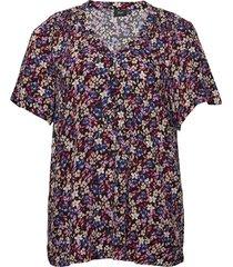 blouse plus print v-neck a-line viscose blouses short-sleeved lila zizzi