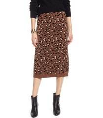 women's halogen leopard sweater skirt, size x-small - brown