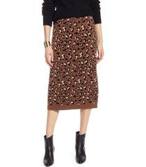 women's halogen leopard sweater skirt, size x-large - brown