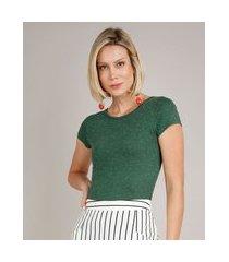 blusa feminina básica botonê manga curta decote redondo verde
