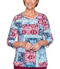 alfred dunner petite autumn harvest patchwork-print top