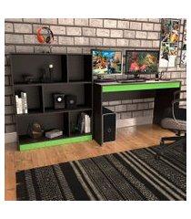 conjunto de mesa gamer hype com estante de escritório darci preto e verde