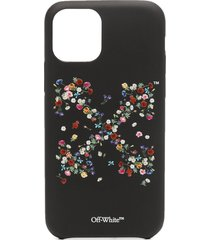 off-white floral-print iphone 11 pro case - black