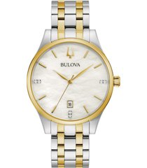 bulova women's classic diamond-accent two-tone stainless steel bracelet watch 36mm