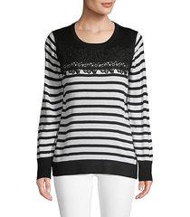 lace-trimmed stripe sweater