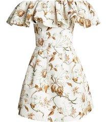 faille off-shoulder mini dress
