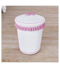 lixeira bebe menina branco/rosa ursinha bebê grão de gente rosa