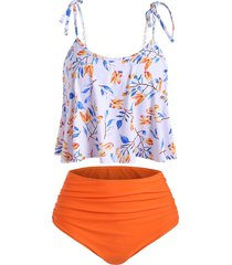 high waisted tie shoulder ruched leaves print tankini swimsuit