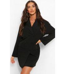 oversized drop shoulder blazer jurk, zwart