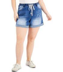 dollhouse trendy plus size tie-waist cuffed shorts