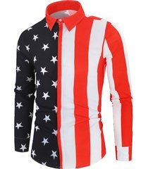 american flag print button up long sleeve shirt
