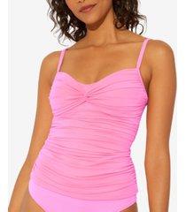 bleu by rod beattie twist and shout twist-detail floating underwire tankini top women's swimsuit