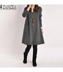 zanzea otoño mujer casual algodón suelto bolsillos sólidos vestido bata mujer manga larga cuello en v vestidos vestidos femininas tallas grandes gris oscuro -gris