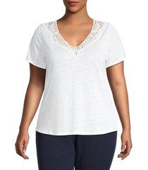 sanctuary women's plus virginie lace-trim linen t-shirt - white jasmine - size 1x (14-16)