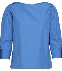 cotton poplin top blouse lange mouwen blauw filippa k