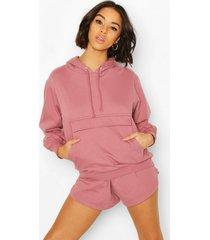 hoodie en shorts set, stoffige roos