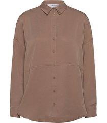 slftrixy ls shirt b overhemd met lange mouwen bruin selected femme