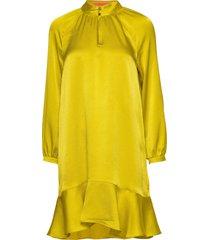 printed dress with peplum korte jurk geel scotch & soda
