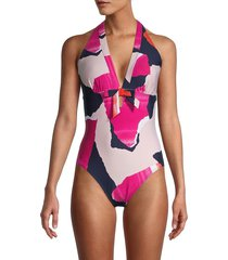 dkny women's abstract halter one-piece swimsuit - hot pink - size 16
