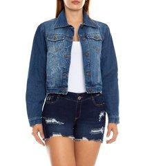 chaqueta en jeans mujer estampado lasser - saramanta