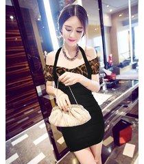 pf261 sexy sweet off-shoulder 2 in 1 dress, size s-xl, leopard/black