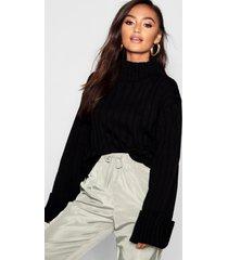 petite rib knit high neck sweater, black