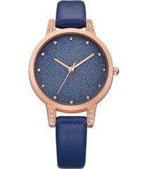 orologio da polso impermeabile al quarzo in pelle con cinturino alla moda per donna