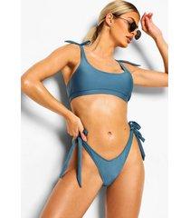 essentials string bikini broekje met strikjes, petrol