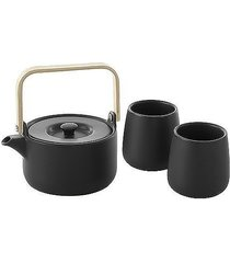 dzbanek do herbaty i 2 kubki porcelana czarna