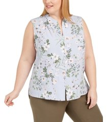 calvin klein plus size floral-print button-up sleeveless blouse