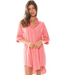 saída de praia curta estilo camisão 9 botões rosa pink - kanui