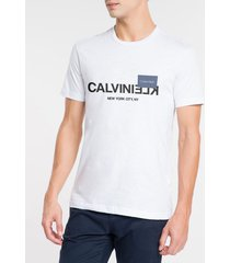 camiseta masculina slim nyc branca calvin klein - pp