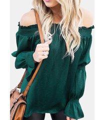 camicetta pieghettata per donna con maniche a campana tinta unita collo