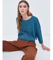 motivi maglia cropped in lurex donna blu