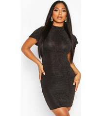 glitter high neck angel sleeve mini dress, gold