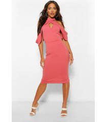 draped shoulder halterneck midi dress, rose
