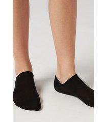 calzedonia unisex cotton no-show socks man black size 34-36
