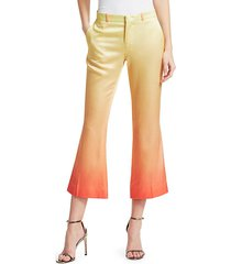 rainbow cropped satin trousers